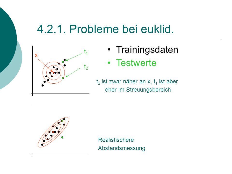 4.2.1. Probleme bei euklid. Trainingsdaten Testwerte t1 x t2