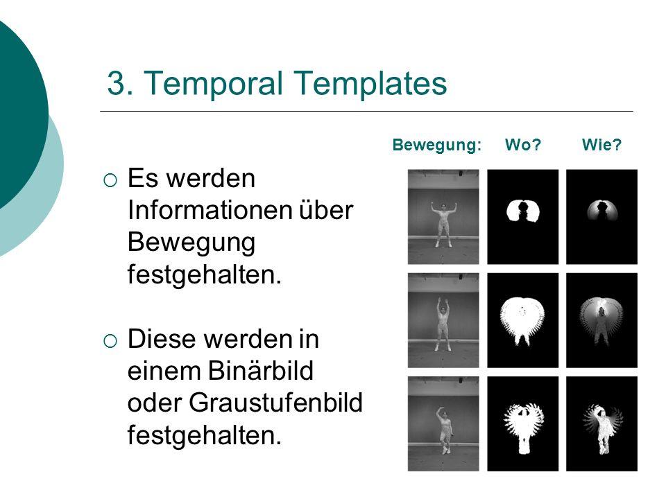 3. Temporal Templates Bewegung: Wo Wie Es werden Informationen über Bewegung festgehalten.