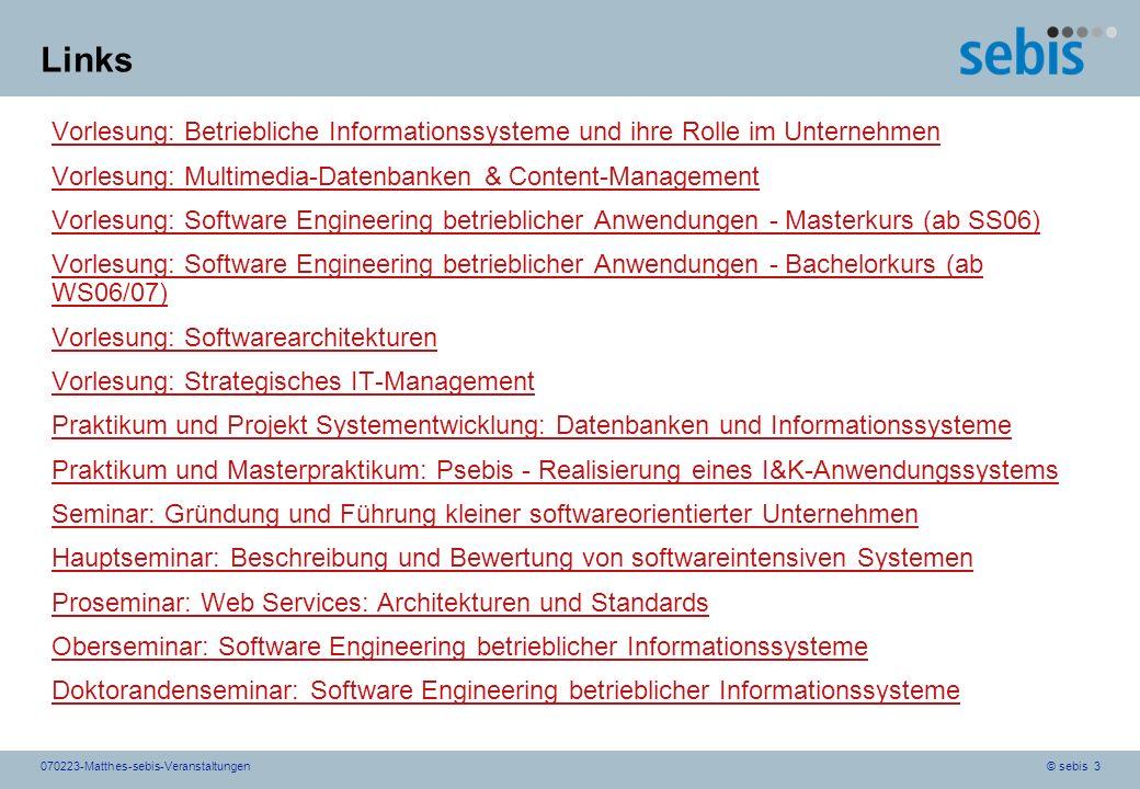 Links Vorlesung: Betriebliche Informationssysteme und ihre Rolle im Unternehmen. Vorlesung: Multimedia-Datenbanken & Content-Management.