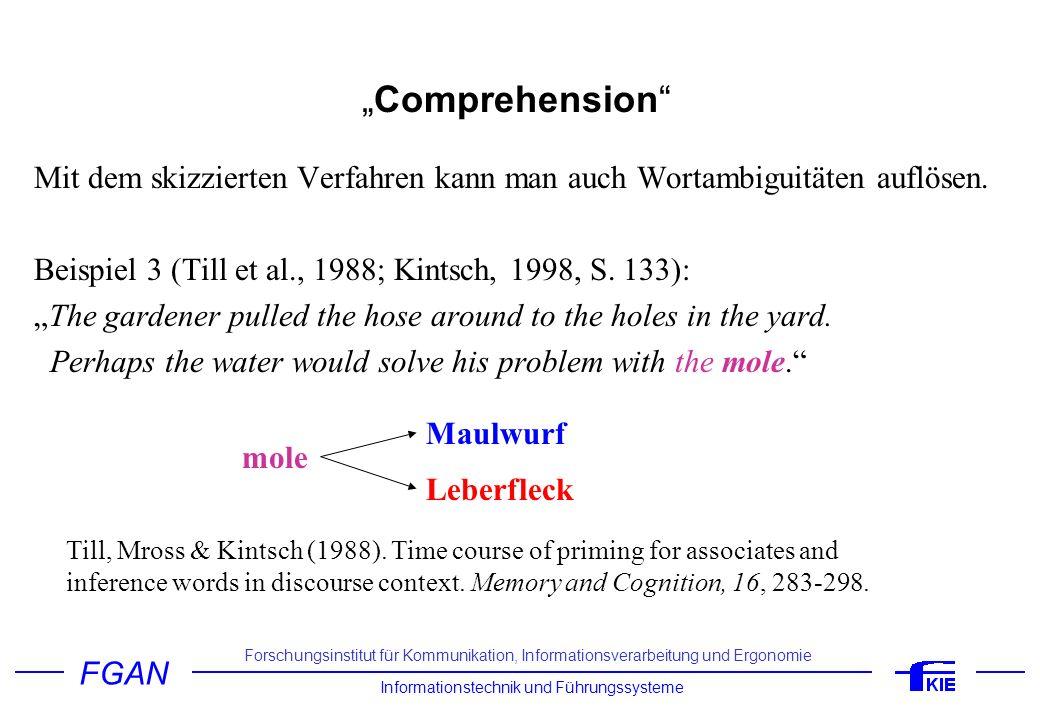 """""""Comprehension Mit dem skizzierten Verfahren kann man auch Wortambiguitäten auflösen. Beispiel 3 (Till et al., 1988; Kintsch, 1998, S. 133):"""