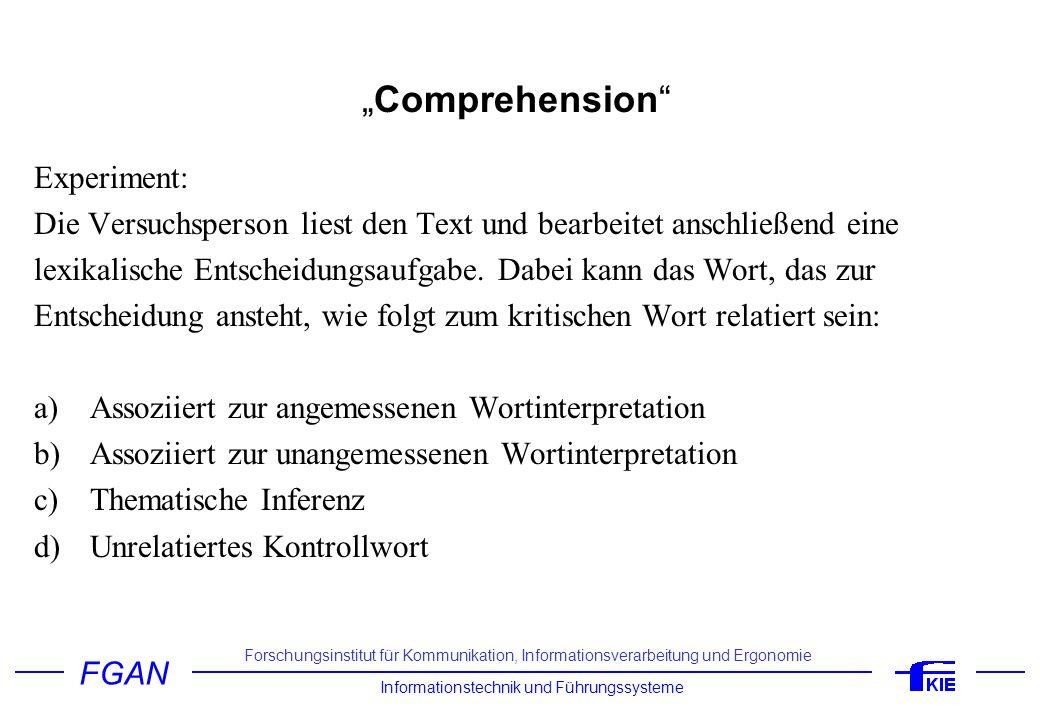 """Comprehension Experiment:"
