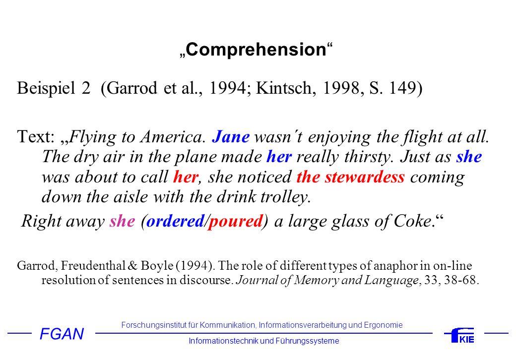 Beispiel 2 (Garrod et al., 1994; Kintsch, 1998, S. 149)