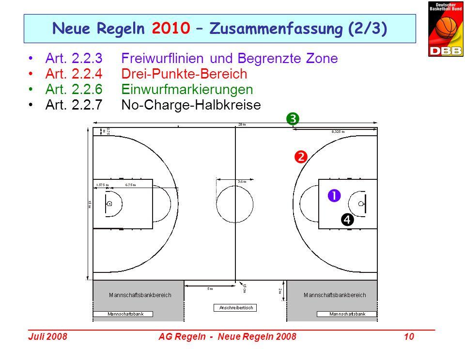 Neue Regeln 2010 – Zusammenfassung (2/3)
