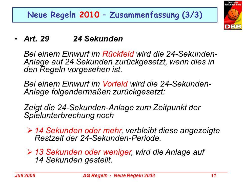 Neue Regeln 2010 – Zusammenfassung (3/3)