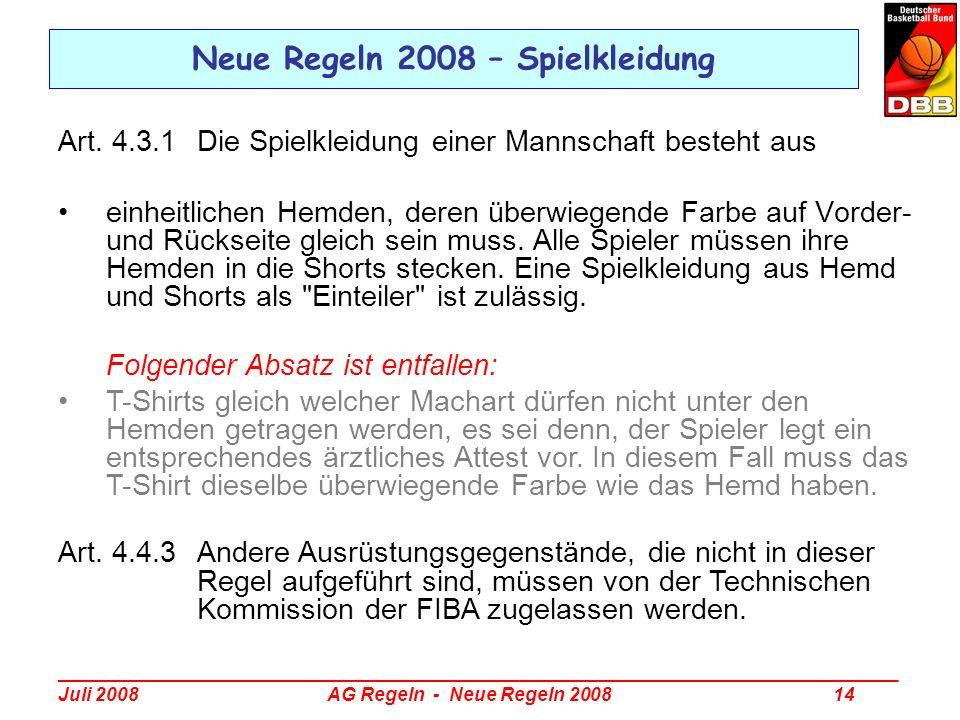 Neue Regeln 2008 – Spielkleidung