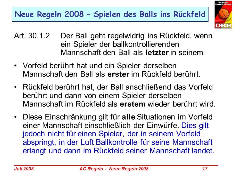 Neue Regeln 2008 – Spielen des Balls ins Rückfeld