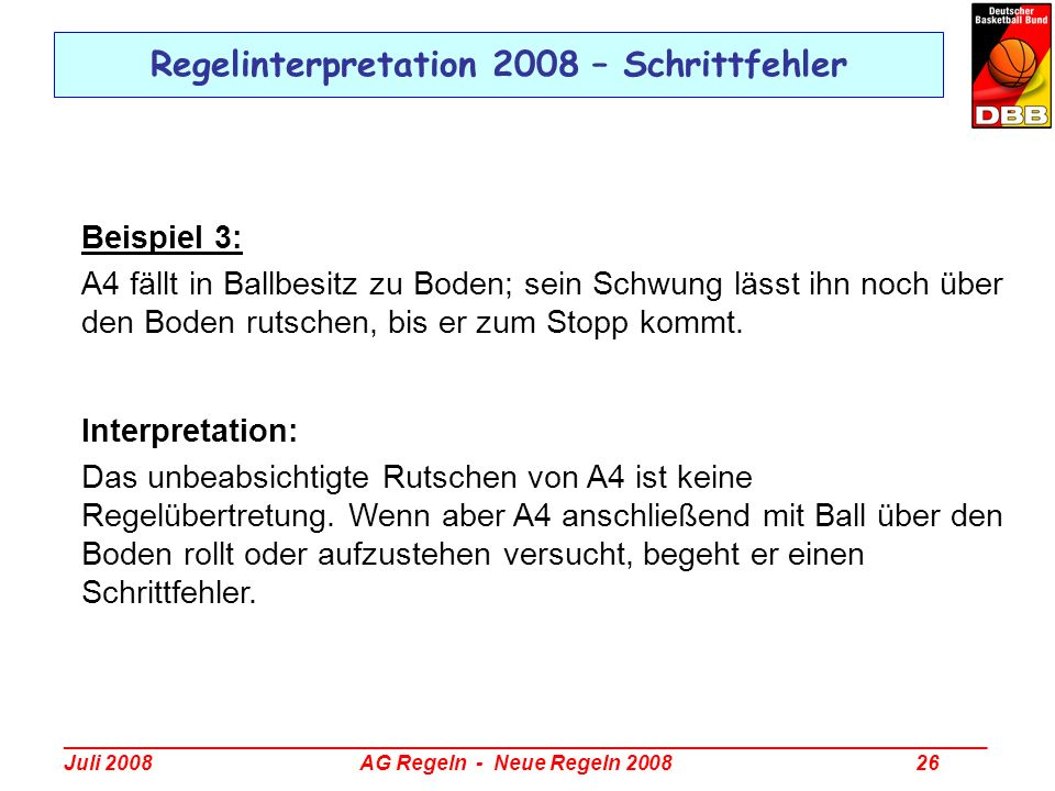 Regelinterpretation 2008 – Schrittfehler