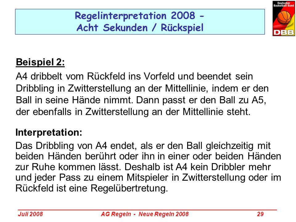 Regelinterpretation 2008 - Acht Sekunden / Rückspiel