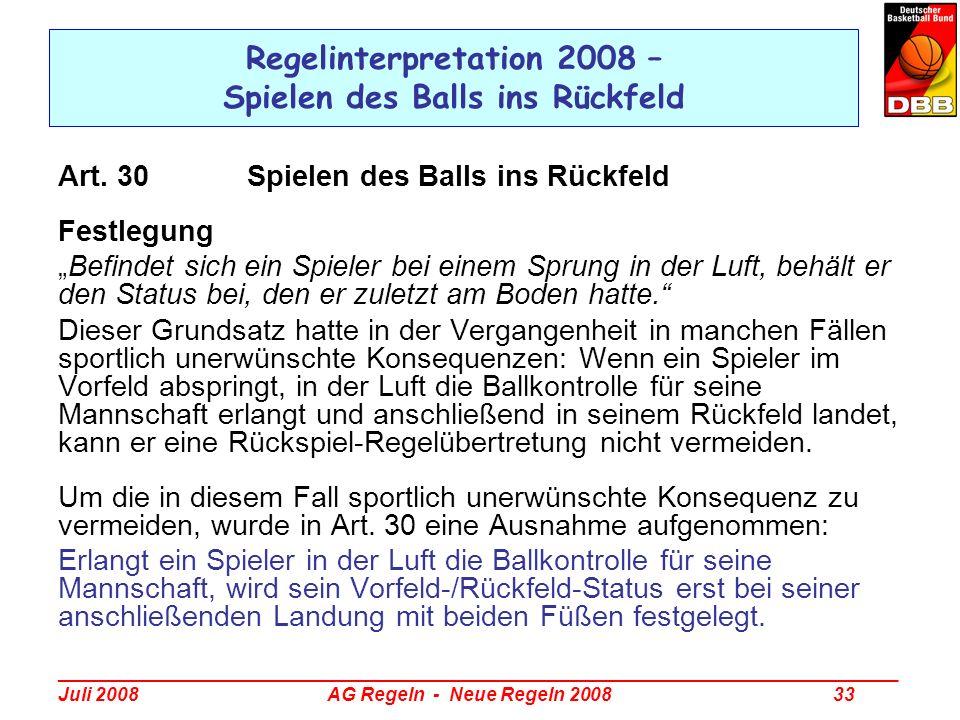 Regelinterpretation 2008 – Spielen des Balls ins Rückfeld