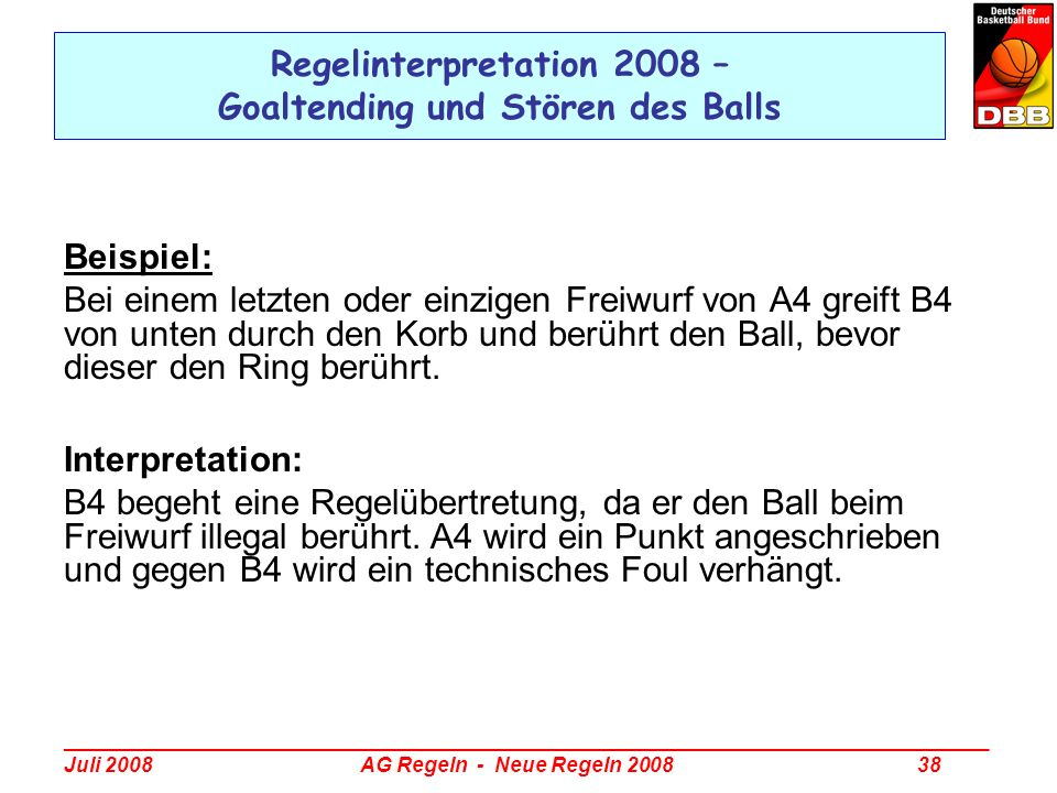 Regelinterpretation 2008 – Goaltending und Stören des Balls