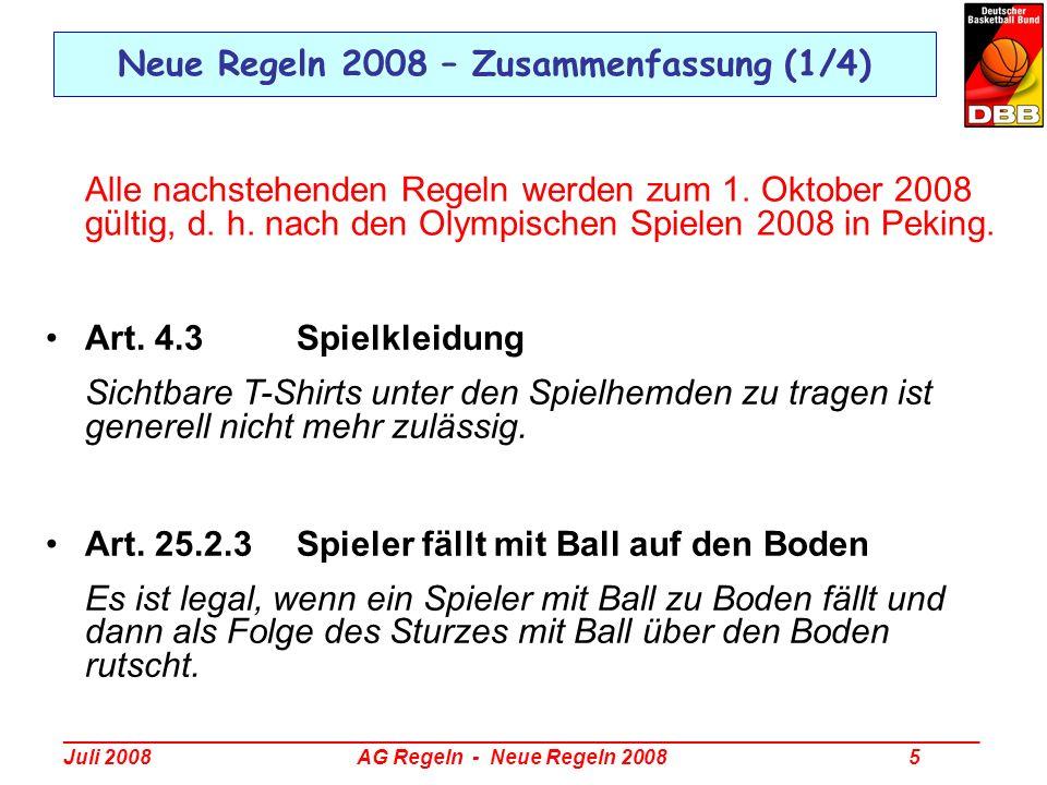 Neue Regeln 2008 – Zusammenfassung (1/4)