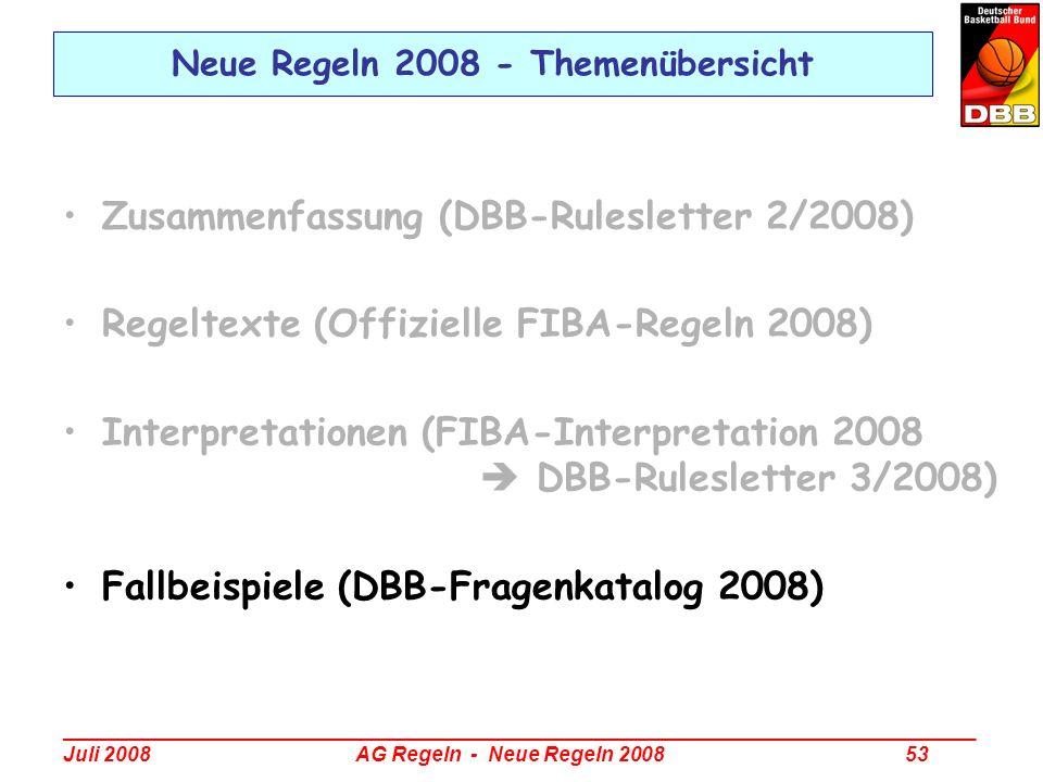 Neue Regeln 2008 - Themenübersicht