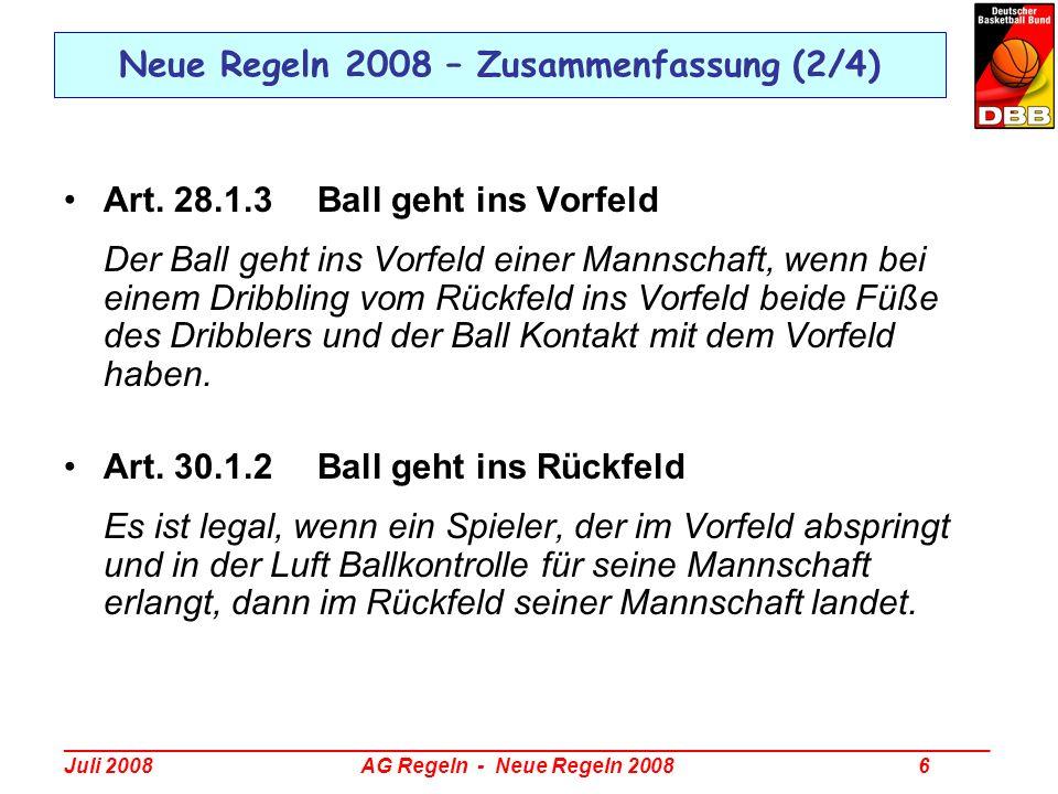 Neue Regeln 2008 – Zusammenfassung (2/4)
