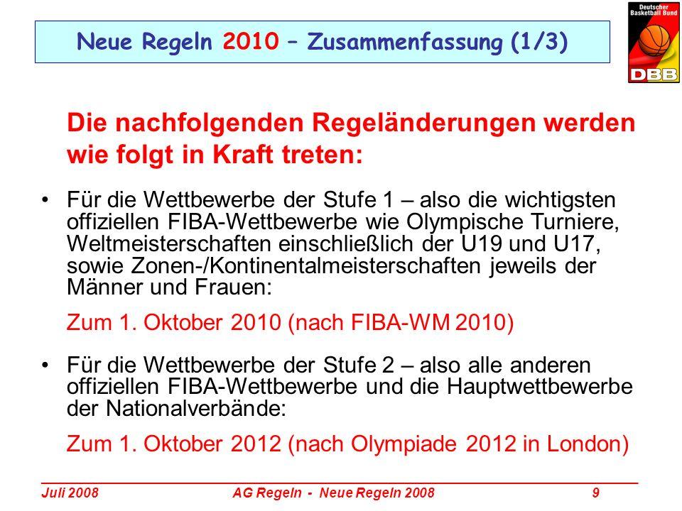 Neue Regeln 2010 – Zusammenfassung (1/3)
