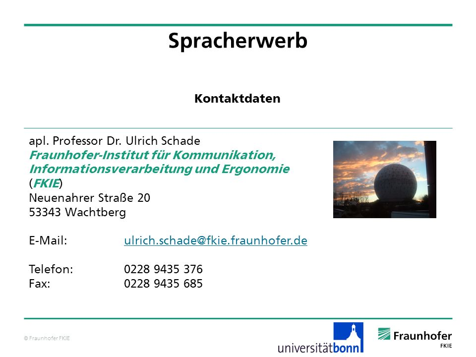 Spracherwerb Kontaktdaten apl. Professor Dr. Ulrich Schade