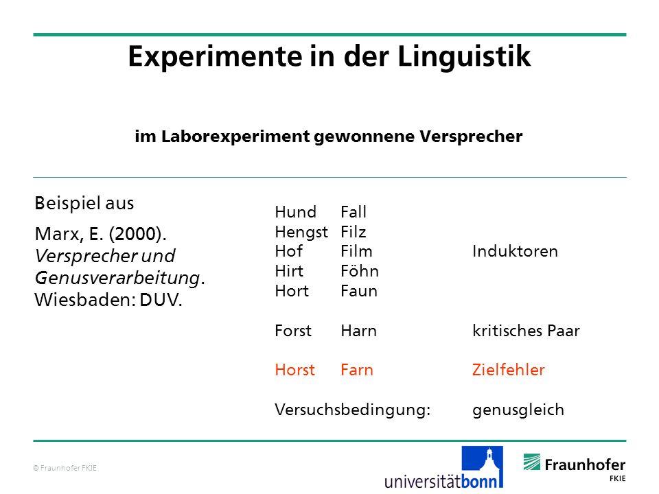 Experimente in der Linguistik