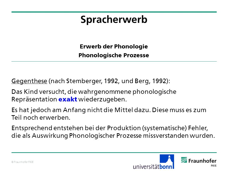 Erwerb der Phonologie Phonologische Prozesse