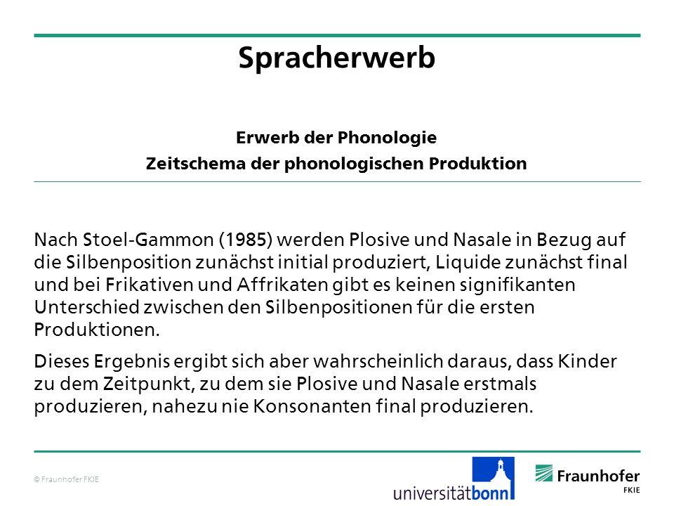 Erwerb der Phonologie Zeitschema der phonologischen Produktion