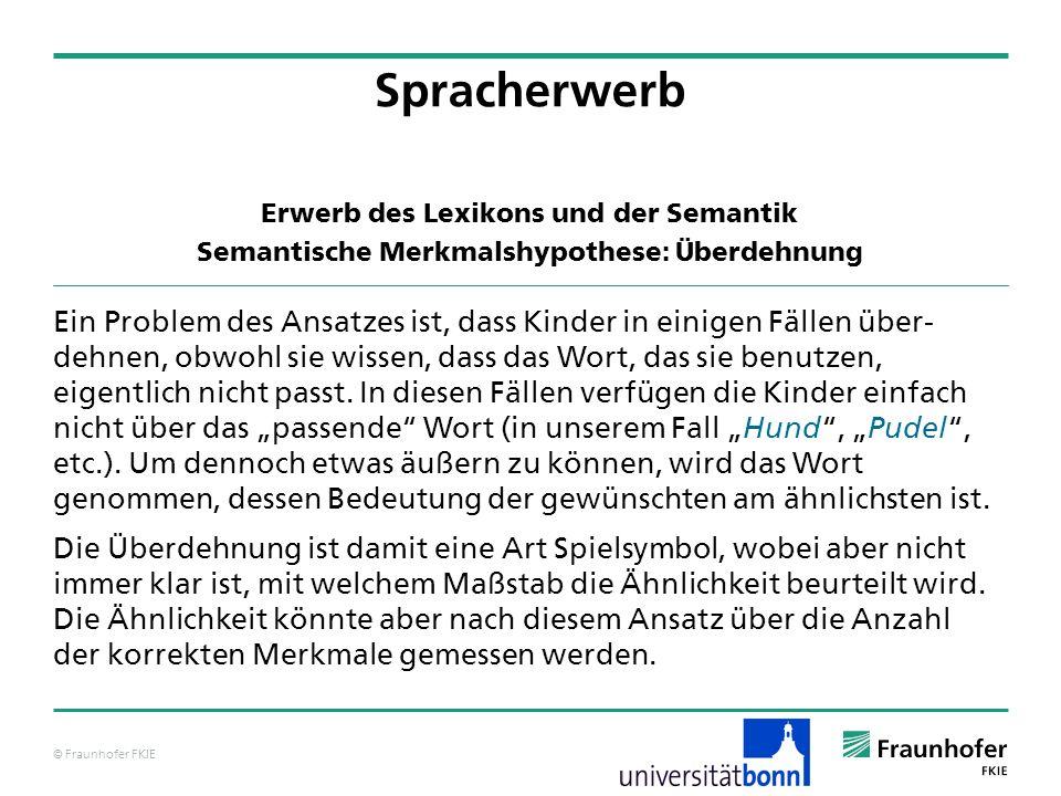 Spracherwerb Erwerb des Lexikons und der Semantik. Semantische Merkmalshypothese: Überdehnung.