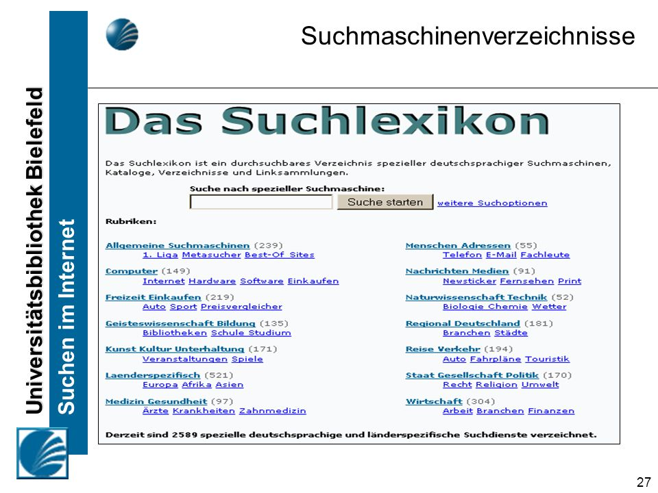 Suchmaschinenverzeichnisse