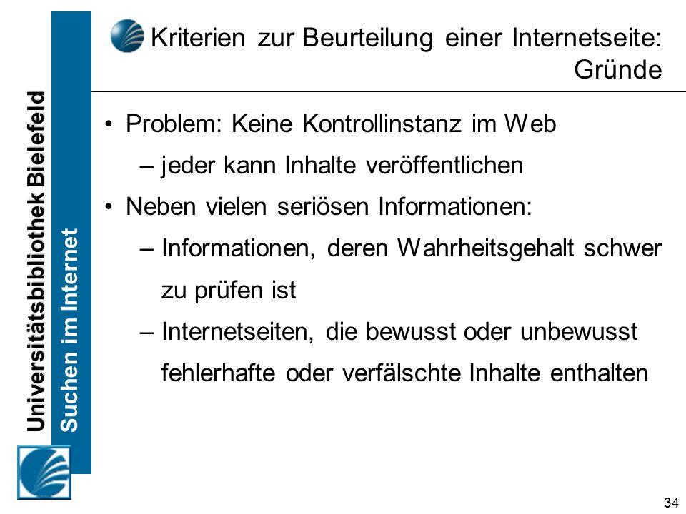 Kriterien zur Beurteilung einer Internetseite: Gründe