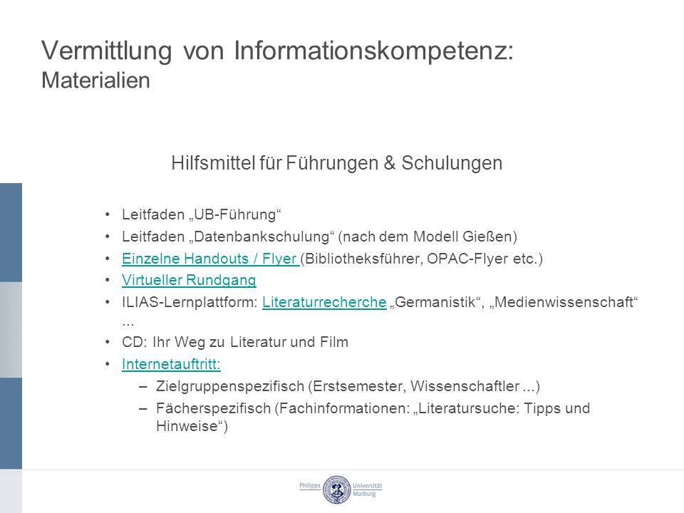 Vermittlung von Informationskompetenz: Materialien