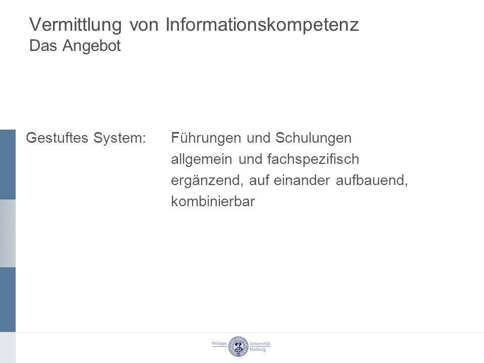 Vermittlung von Informationskompetenz Das Angebot