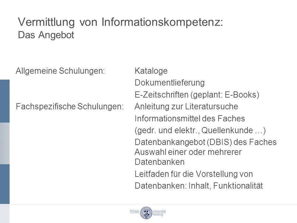 Vermittlung von Informationskompetenz: Das Angebot