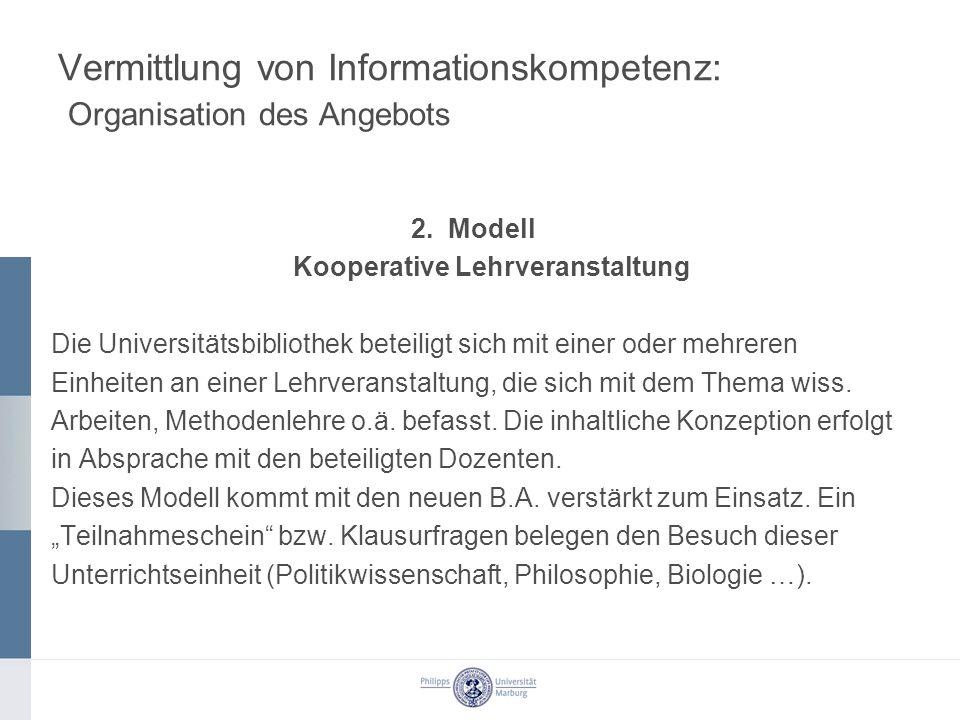 Vermittlung von Informationskompetenz: Organisation des Angebots