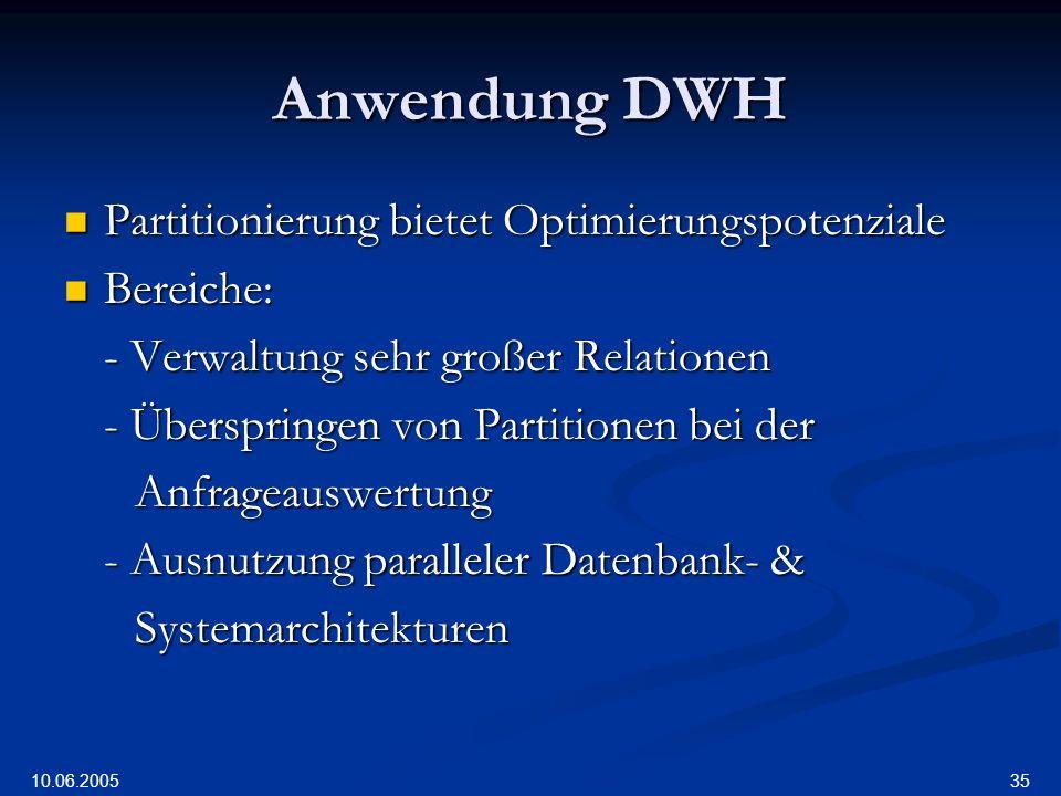 Anwendung DWH Partitionierung bietet Optimierungspotenziale Bereiche: