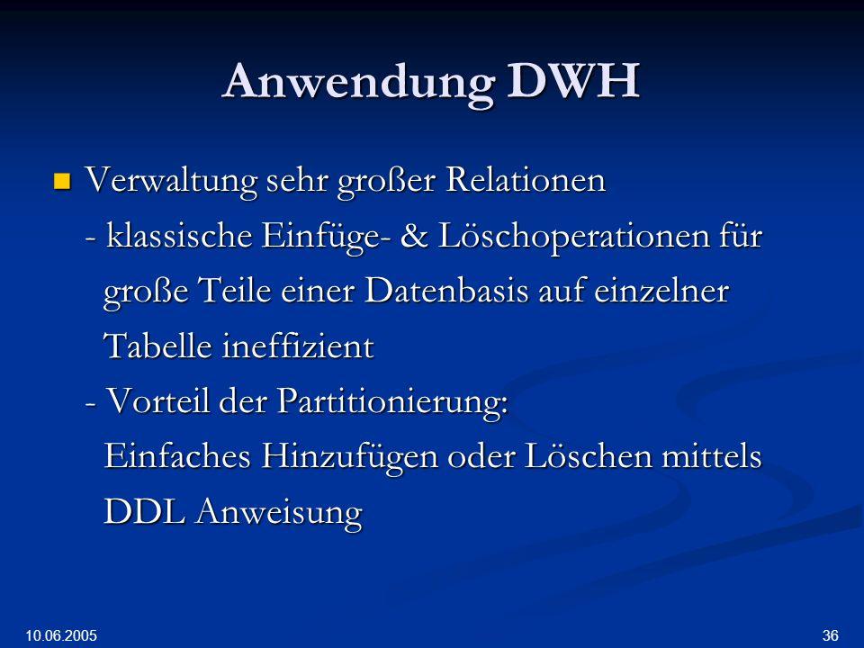 Anwendung DWH Verwaltung sehr großer Relationen