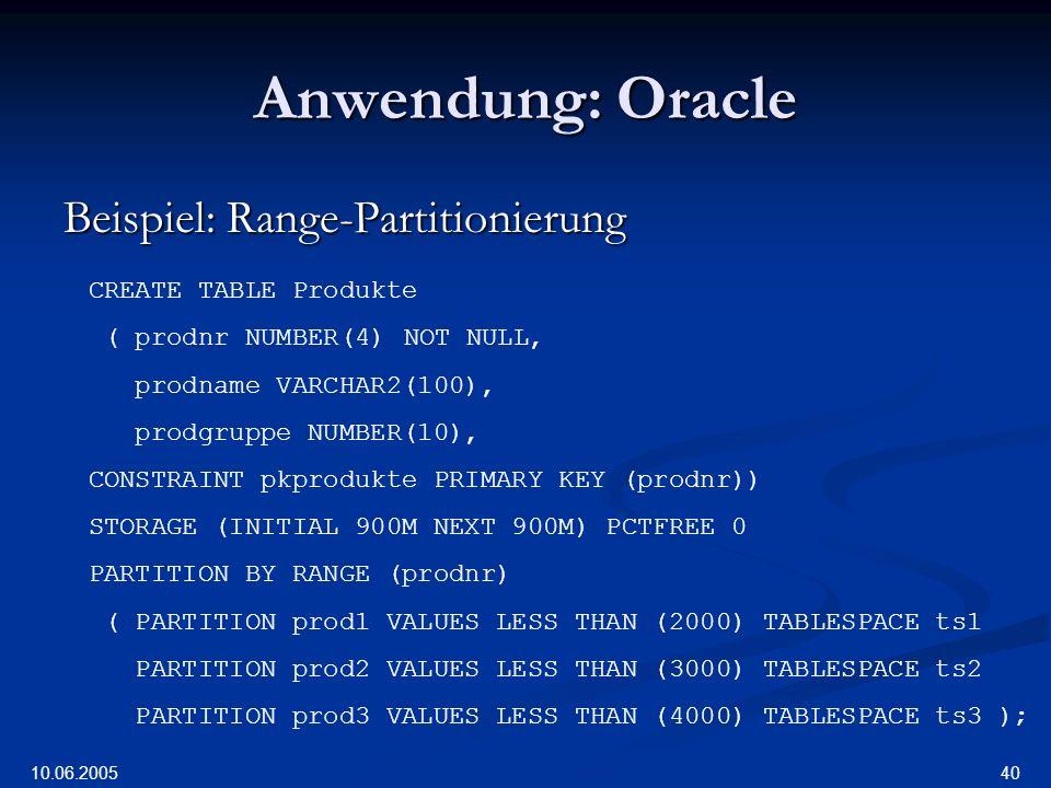 Anwendung: Oracle Beispiel: Range-Partitionierung