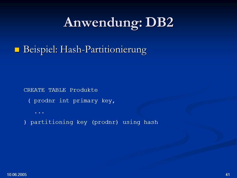 Anwendung: DB2 Beispiel: Hash-Partitionierung CREATE TABLE Produkte