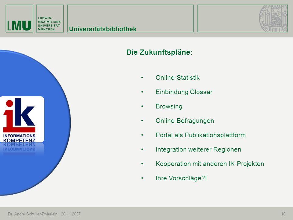 Die Zukunftspläne: Universitätsbibliothek Online-Statistik
