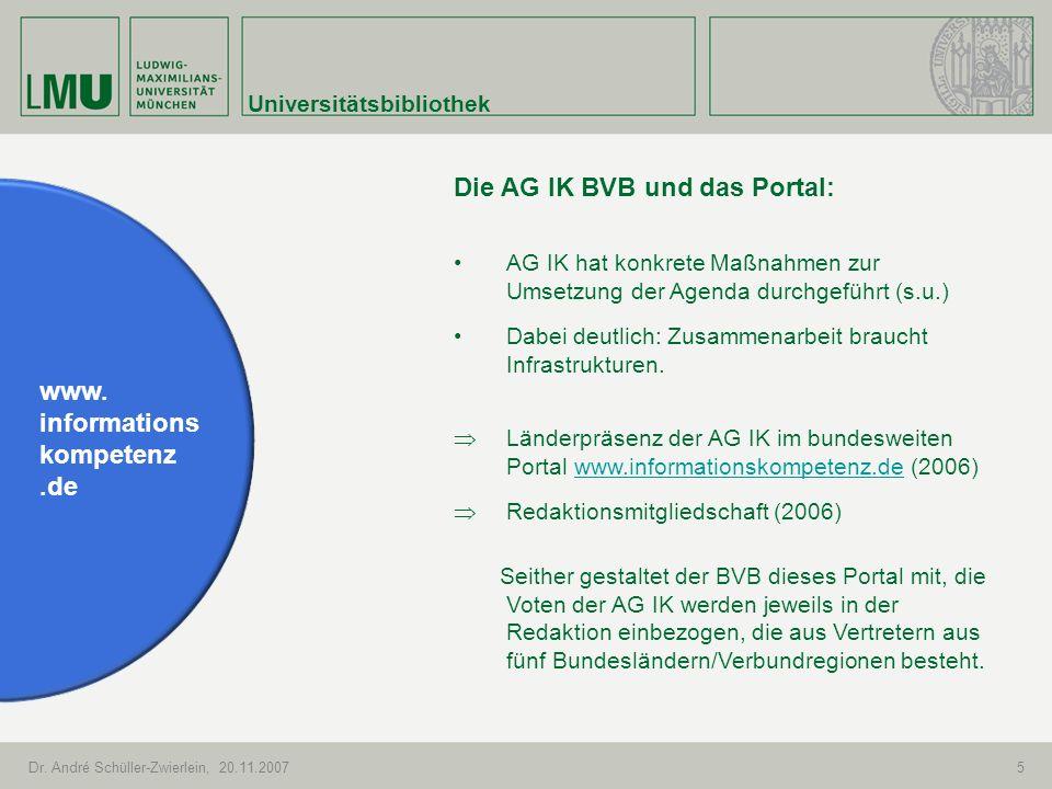 Die AG IK BVB und das Portal: