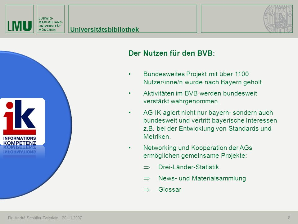 Der Nutzen für den BVB: Universitätsbibliothek