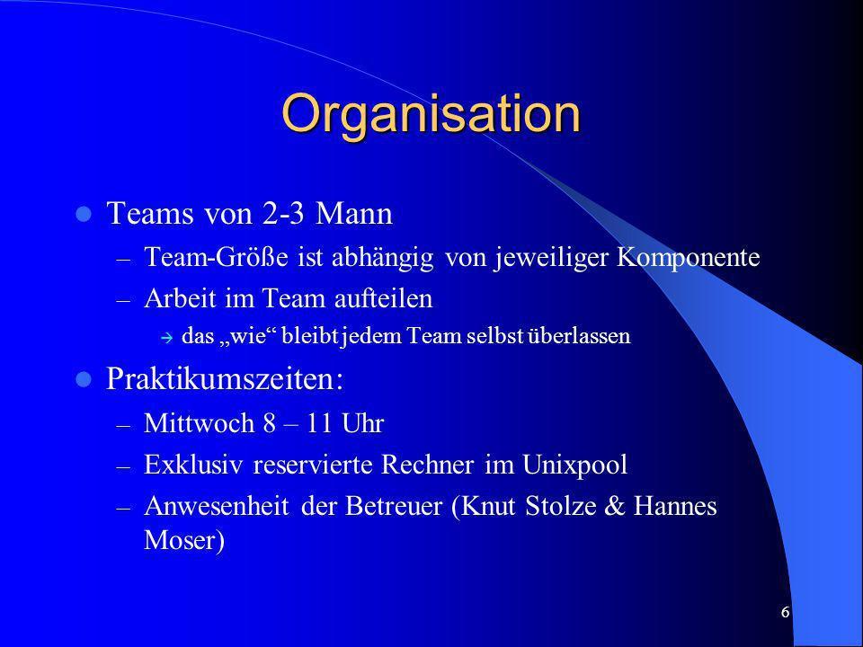 Organisation Teams von 2-3 Mann Praktikumszeiten: