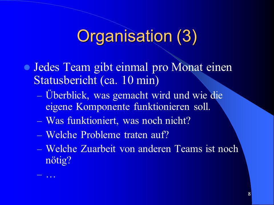 Organisation (3) Jedes Team gibt einmal pro Monat einen Statusbericht (ca. 10 min)