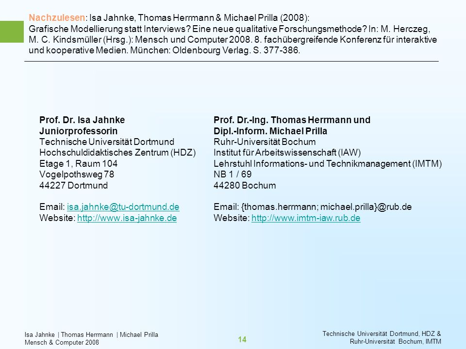 Nachzulesen: Isa Jahnke, Thomas Herrmann & Michael Prilla (2008): Grafische Modellierung statt Interviews Eine neue qualitative Forschungsmethode In: M. Herczeg, M. C. Kindsmüller (Hrsg.): Mensch und Computer 2008. 8. fachübergreifende Konferenz für interaktive und kooperative Medien. München: Oldenbourg Verlag. S. 377-386.
