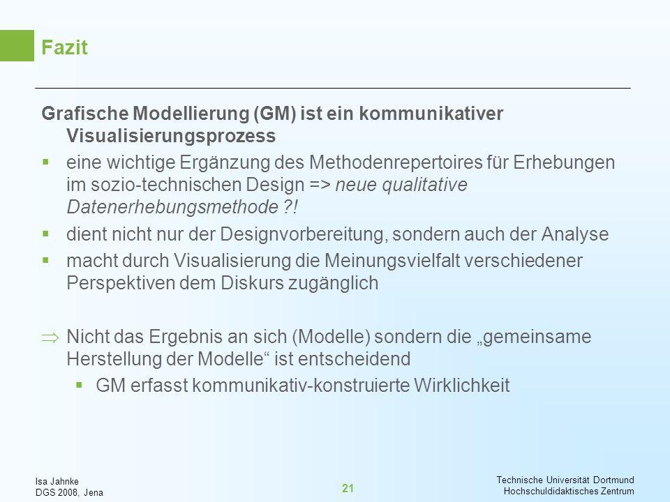 Fazit Grafische Modellierung (GM) ist ein kommunikativer Visualisierungsprozess.