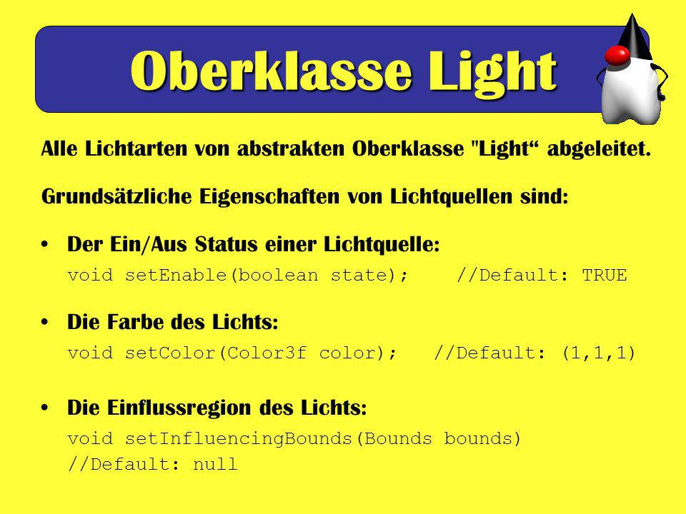 Oberklasse Light Alle Lichtarten von abstrakten Oberklasse Light abgeleitet. Grundsätzliche Eigenschaften von Lichtquellen sind: