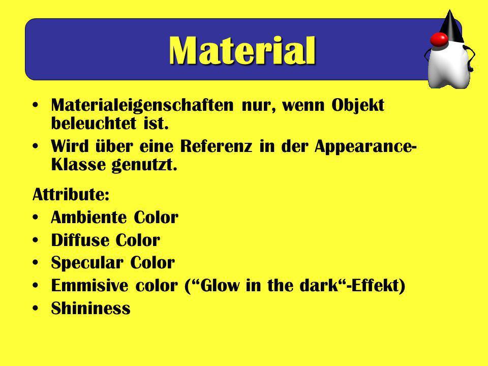 Material Materialeigenschaften nur, wenn Objekt beleuchtet ist.