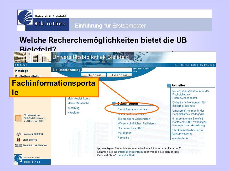 Welche Recherchemöglichkeiten bietet die UB Bielefeld