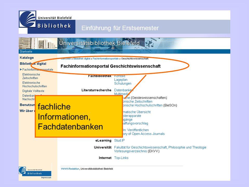 fachliche Informationen, Fachdatenbanken