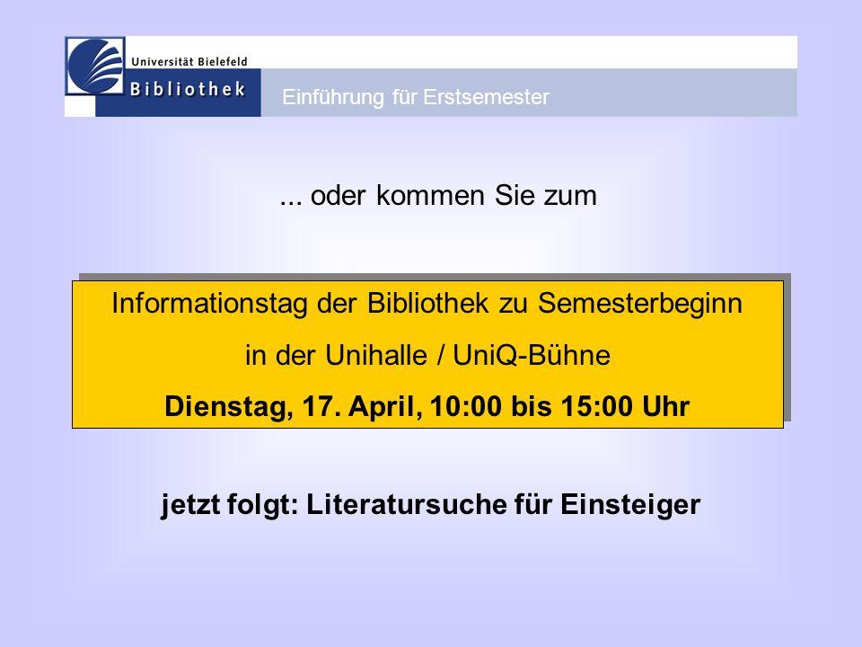 Informationstag der Bibliothek zu Semesterbeginn