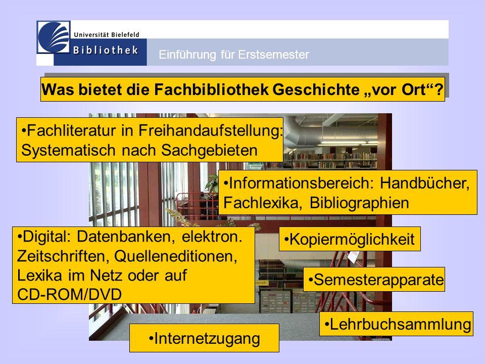 """Was bietet die Fachbibliothek Geschichte """"vor Ort"""