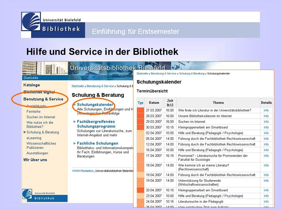 Hilfe und Service in der Bibliothek