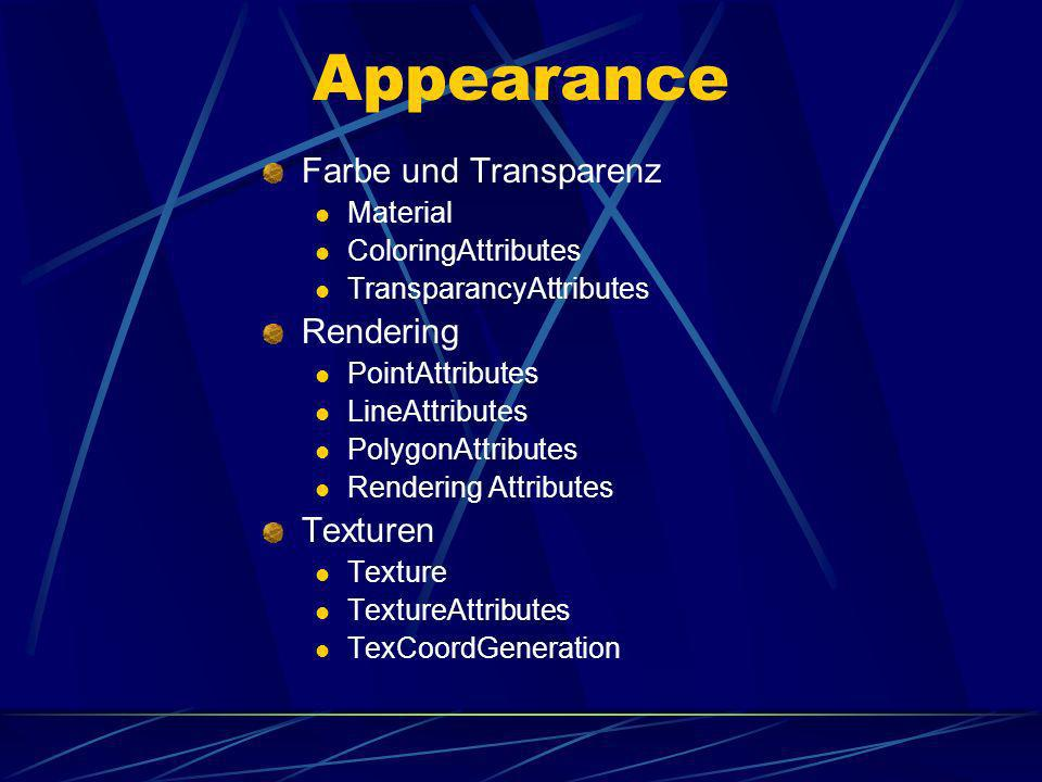 Appearance Farbe und Transparenz Rendering Texturen Material