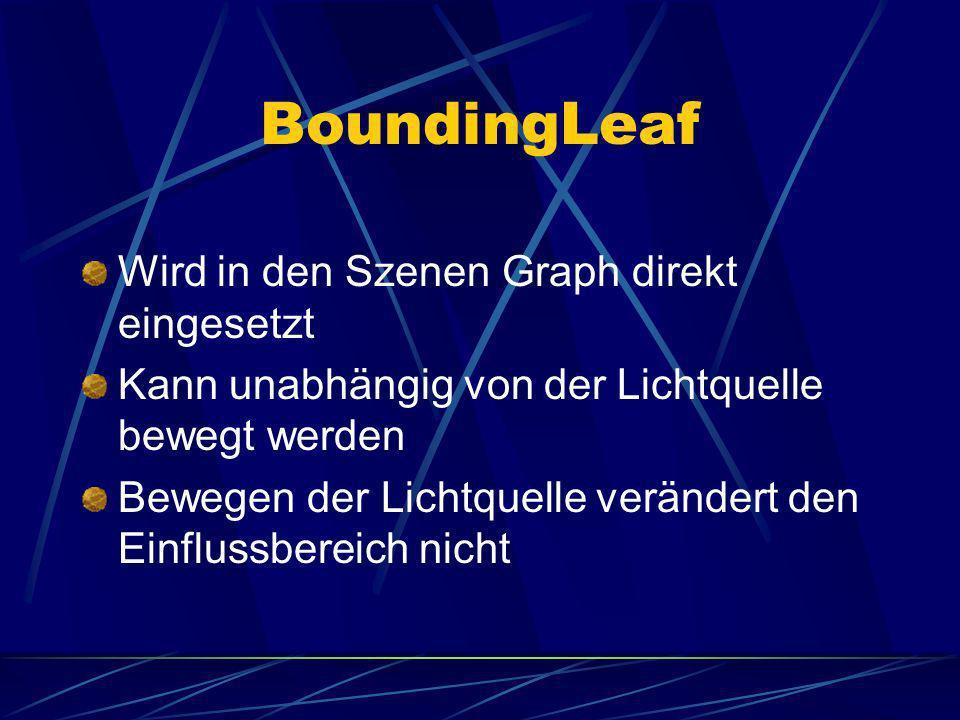 BoundingLeaf Wird in den Szenen Graph direkt eingesetzt