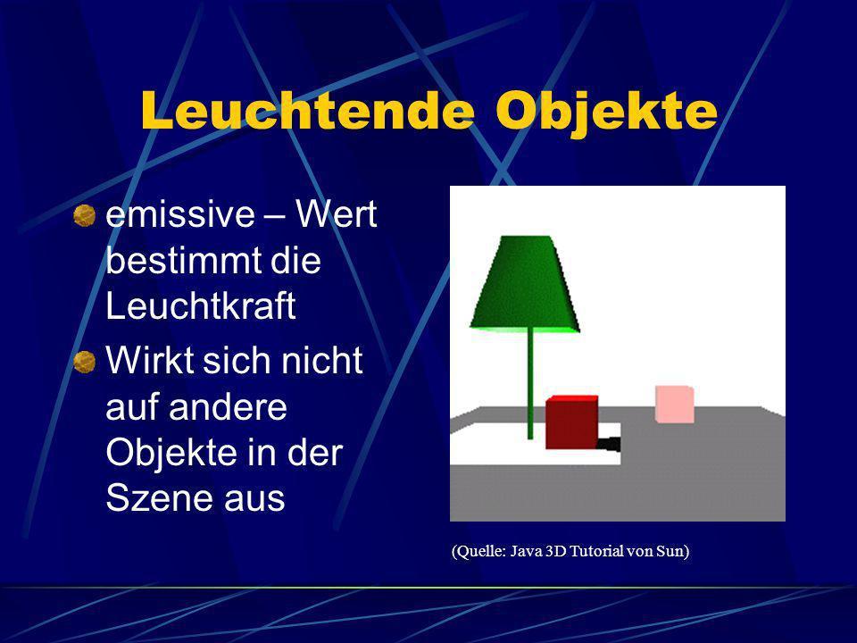Leuchtende Objekte emissive – Wert bestimmt die Leuchtkraft
